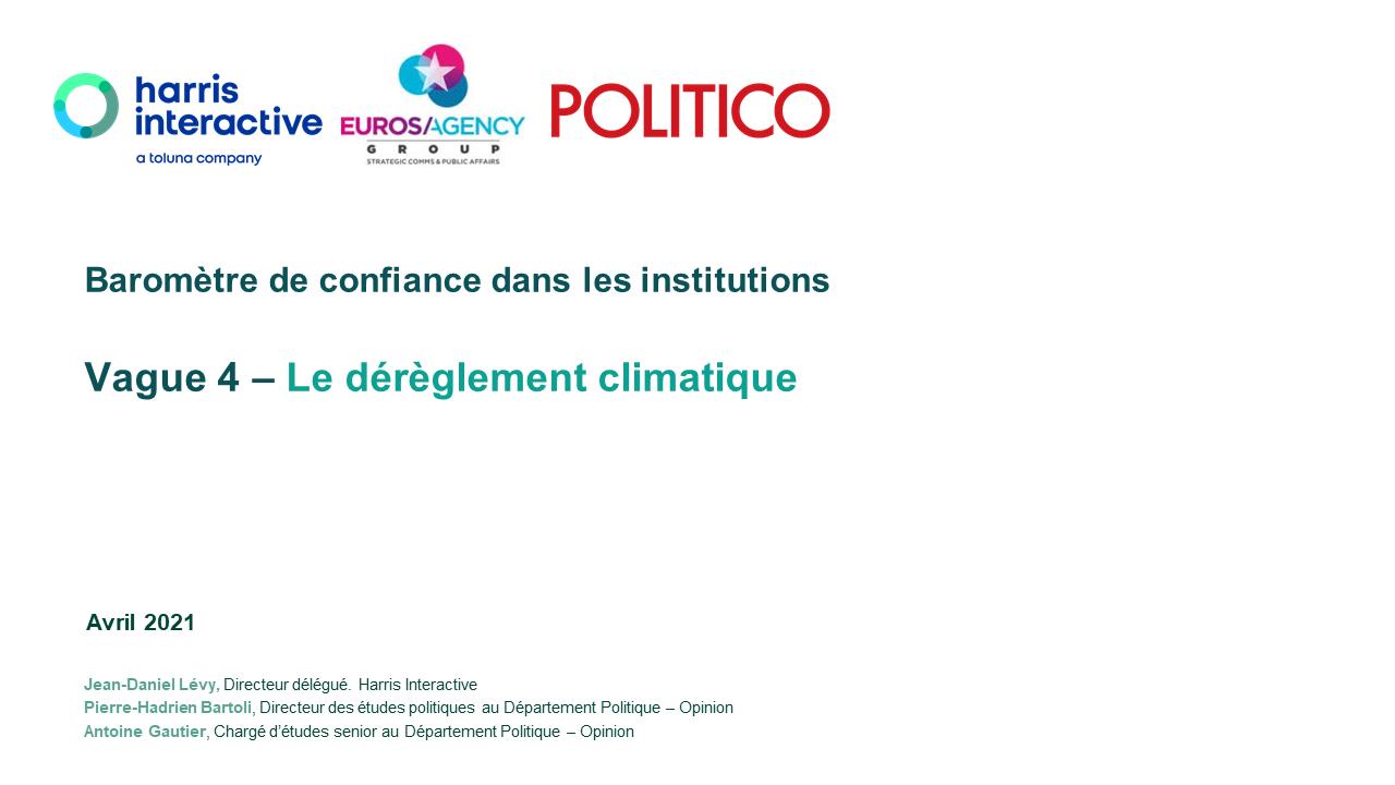 BAROMÈTRE DE CONFIANCE DANS LES INSTITUTIONS – AVRIL 2021 image