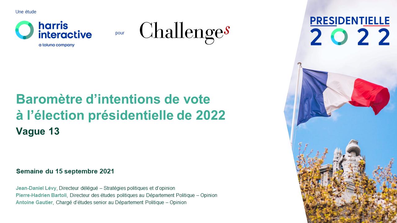 Baromètre d'intentions de vote pour l'élection présidentielle de 2022 – Vague 13 image